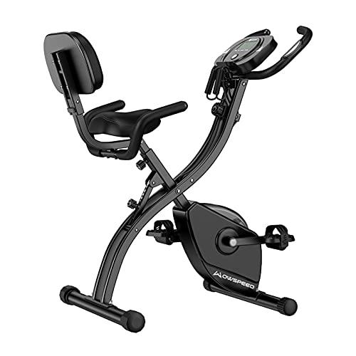Bicicleta de fitness plegable, bicicleta estática con pantalla LCD y pulsómetro, resistencia magnética de 8 niveles, soporte para tableta, bicicleta plegable, hasta 120 kg, color negro