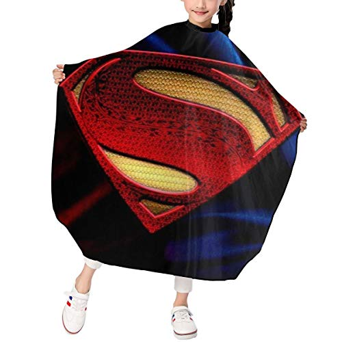 Best S-Uper-Man Kids Haircut Apron Professional Salon Polyester Cape Barber Hairdressing Cape Waterproof Adjustable Snap For Hair Cutting Hairstylists