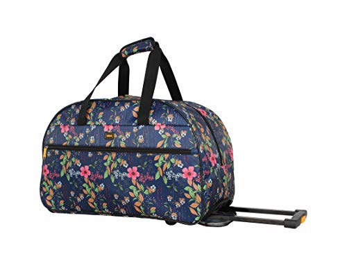 Lucas Designer Carry On Luggage Collection - Lightweight Pattern 22 Inch Duffel Bag- Weekender Overnight Business Travel Suitcase with 2- Rolling Spinner Wheels (Peach)