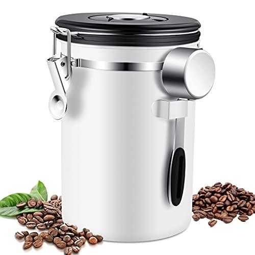 YuQSpace Kaffeedose Luftdicht, 1,8L Edelstahl Kaffeedosen Vakuum Aromadicht Kaffeebohnen Behälter 750g mit Löffel für Kaffeebohnen, Kaffeepulver, Tee, Nüsse, Kakao Kaffeebohnenbehälter - Matt Weiß