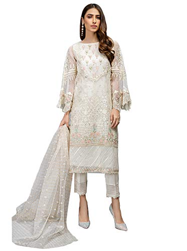 ziya New Indian Collectoin Woman Straight Salwar Kameez Party Wear 7107 (White, M-40)
