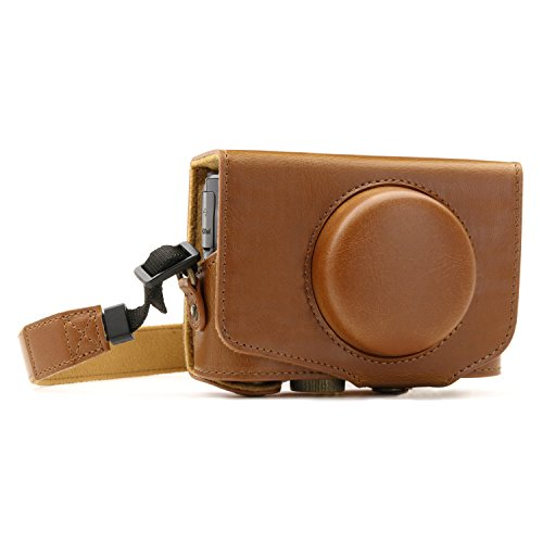 """MegaGear """"Ever Ready"""" Funda protectora de cuero de la cámara, bolso para Canon PowerShot SX720 HS (Marrón Claro)"""