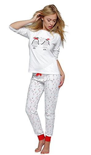 SENSIS stillvoller Baumwoll-Pyjama Schlafanzug Hausanzug aus feinem T-Schirt und bequemer Hose, Made in EU (M (38), Pinguin)
