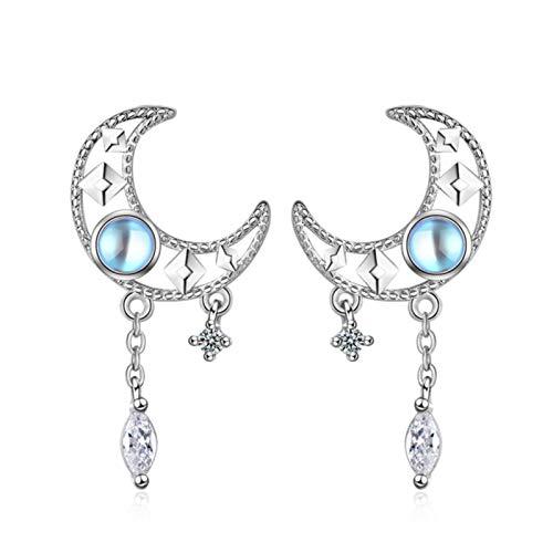 SALAN Pendientes De Luna De Piedra Lunar con Borla De Moda para Mujer Joyería Regalos De Moda para Mujer