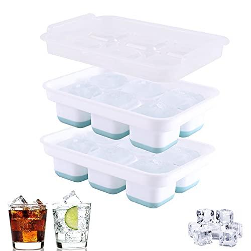 Grandi vassoi per cubetti di ghiaccio in silicone,creatore di sfere ghiaccio con sfera in silicone con coperchio stampi quadrati grandi cubetti di ghiaccio per whisky,riutilizzabili senza BPA (piazza)