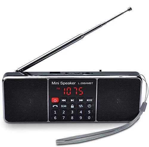 Songway - Altavoz de Radio portátil con Bluetooth Am/FM, Compatible con Tarjeta TF/USB Drive, recepción Fuerte, con Pantalla Grande, Llamadas con Manos Libres, Llave de Bloqueo (Negro)