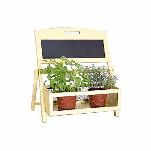 GWM Support de Fleurs de Bureau avec Tableau Noir, Balcon Petit Jardin Plante Verte Plante Pot Rack étagère à Fleurs Support décoratif Cadre