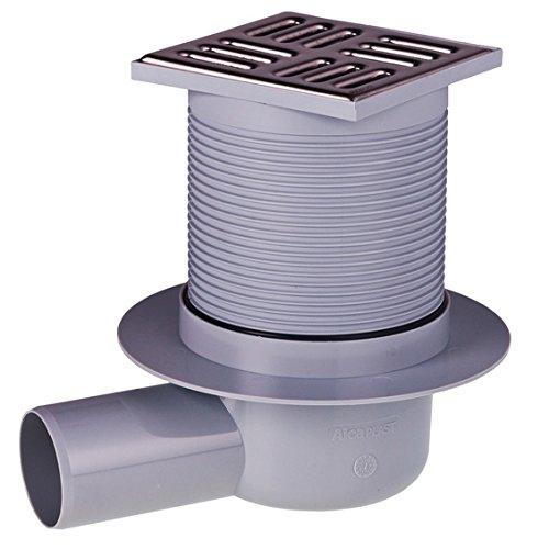 Siphon de sol en plastique - 105x105/50 mm - sortie horizontale