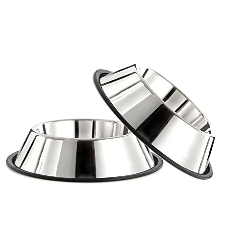 GPET Dog Bowl 32 Ounce Stainless Steel with Rubber...