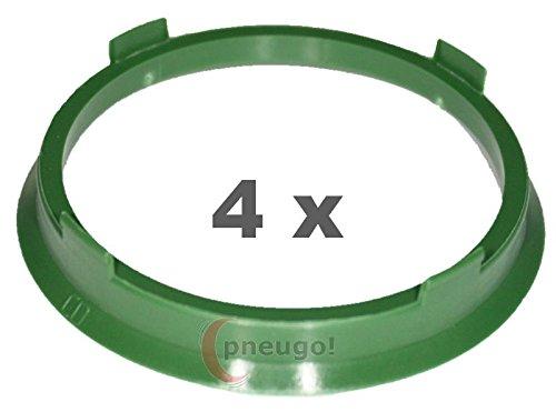 4X Anello Di Centraggio in plastica 67.1mm su 60.1mm Verde