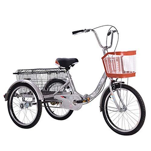 Bici Tres Ruedas Adulto,Verduras para Padres Bicicletas De Tres Ruedas con Asistencia De Alimentación con Asistencia (Color : Silver Gray)