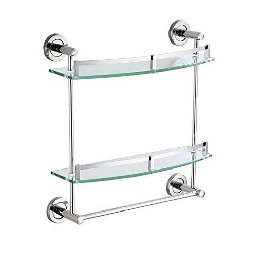 XJJZS Acero Inoxidable baño Estante de Vidrio de 2 Niveles Vidrio Templado Doble Cubierta montado en la Pared, (Size : 40X8X43.5CM)