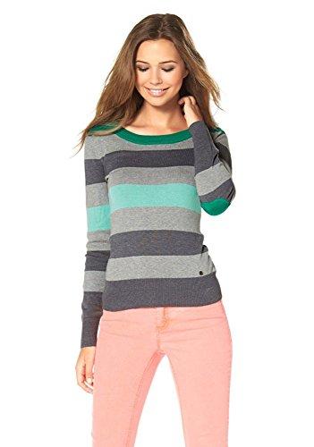 AJC Damen Strick Pullover Colorblocking Streifen (Grün, 32/34)