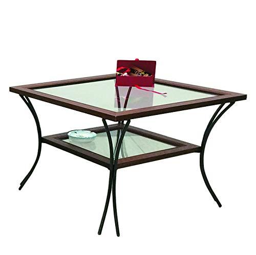 Spazio Casa Tavolino da Salotto in Legno con Piedi in Ferro Battuto Ripiani in Vetro - Noce, 55 X 55 H. 50