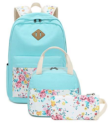 School Backpacks for Teen Girls Bookbags Lightweight Canvas Backpack Schoolbag Set (Turquoise-Flower)
