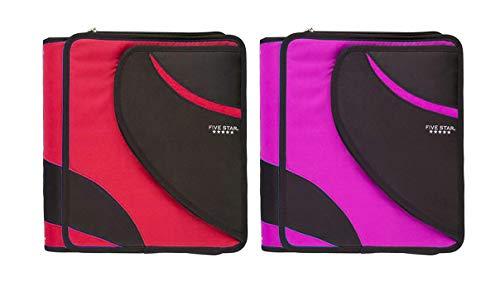 Five Star 1.5 Inch Zipper Binder Set - 2 Pack School Supplies 3 Ring Zipper Binder Bundle (Pink and Red, 8 1/2' x 11')
