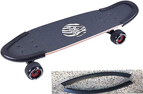 DreamFire Skateboard Nose Guard Tail Guard Edge Protection Rubber Strip Longboard Deck Edge Protector Boys, Girls, Youths, Beginners 30cm Black