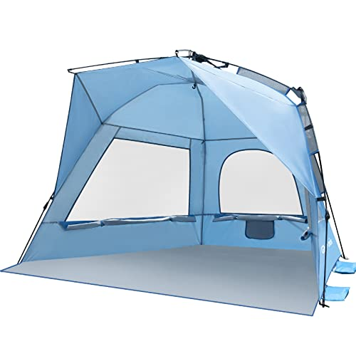 Glymnis Strandmuschel Quick Up Strandzelt Automatisches Strand Zelt UV-Schutz 50+ Windschutz Sonnenschutz mit Quick-Up System kleines Packmaß für 2-4 Personen