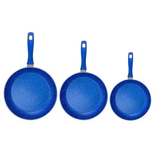 FlavorStone | Batería de Cocina 3 pan Set | 1 Set de Baterías de Cocina| Incluye: 1 Sartén 28cm, 1 Sartén 24cm y 1 Sartén 20 cm | Color Azul