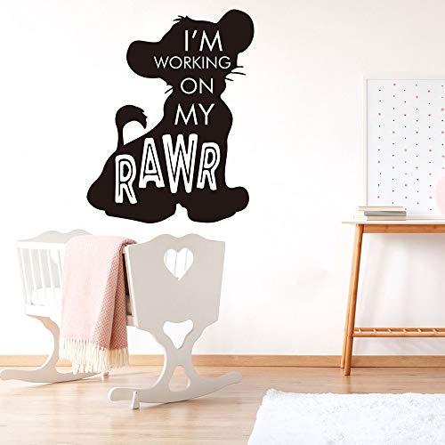 hetingyue karikatuurleeuw citatootierlaptop-Afrikaanse inspirerende citatvinylwand-aftrekbeelddecoratie