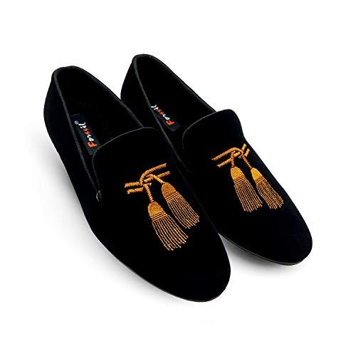 FORSSIL Present Z-Black Embroidered Velvet Casual Formal Loafers Shoes for Men and Boys (FSL-2028)