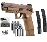 M17 Sig Sauer ASP Airgun Air Pistol .177 Cal Coyote TAN with 15 C02 Tanks and 2 Rotary Belts and 500 Lead Pellets Bundle 2 Rotary Belts+ Accessories