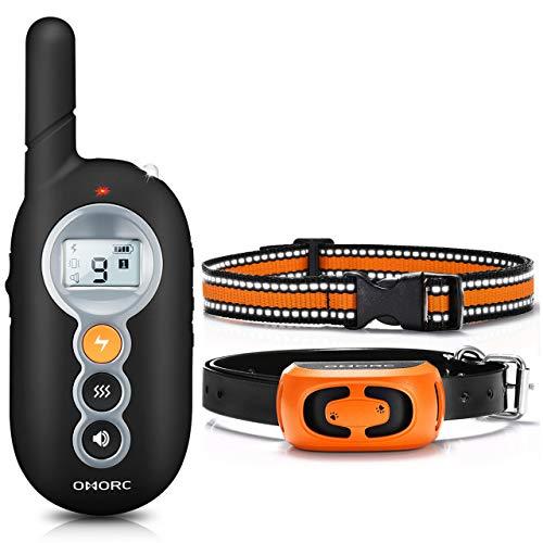 OMORC Collier de Dressage pour Chien Étanche IP67, Rechargeable, Télécommande 300m, Un SEUL Récepteur avec 2 Colliers TPU/Nylon, Réfléchissant, 15-65cm, 9 Niveaux de Vibration/Choc/Bip, LED, Noir.