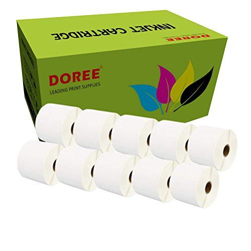 10 Rollen DOREE Thermoetiketten Rollen 102 x 150 mm, für Zebra GK420D, GX420D, GK420T Thermodruck, 300 Etiketten pro Rolle, Kern 25 mm, Schwarz auf Weiß