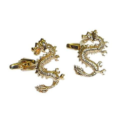 Lucky Dragon chinois d'or boutons de manchette (xaj181)