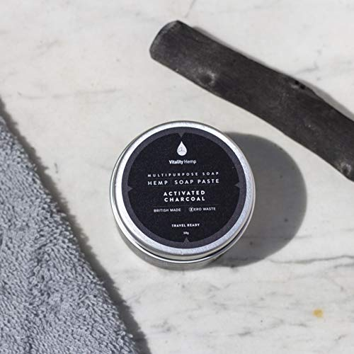 'Deep Cleansing' Natural with Activated Charcoal. Hemp Soap Paste, 50g