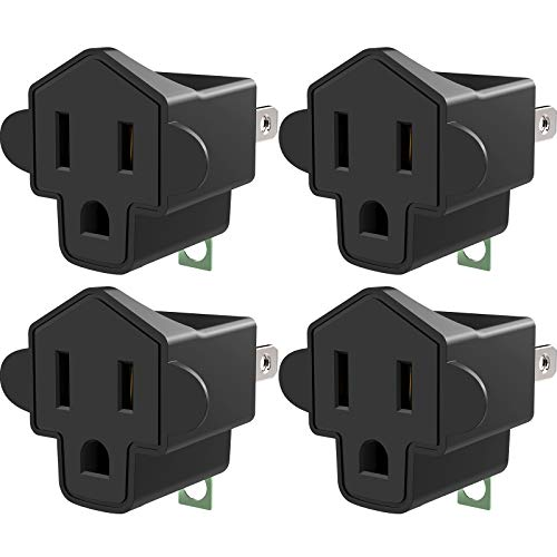 3-2 Prong Adapters Grounding Adapter JACKYLED 3-Prong to 2-Prong Adapter ETL Listed Fireproof Material 200℃ Resistant Heavy Duty Wall Plugs for Household Appliances Industrial, Black, 4 Pack