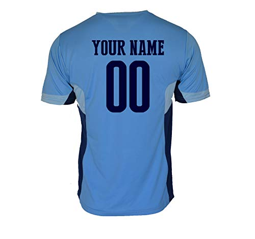 Manchester City Jersey Soccer Men Training Athletic fit Custom Name and Number Licensed (Sky Blue, M)