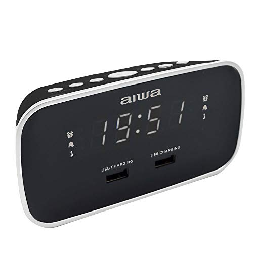 Aiwa CRU-19BK Radio Schwarz Radiowecker LED-Display Dimmerfunktion