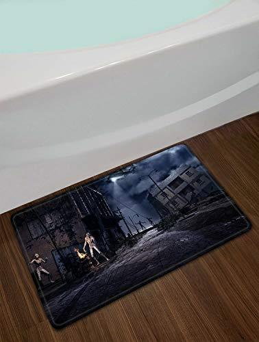 ZHANGSHUQI Stadt Ruinen Halloween Zombies Badezimmer Matte Anti-Rutsch-Boden Indoor Eingangstür Matte Bodenmatte Kinder 40X60CM Zubehör