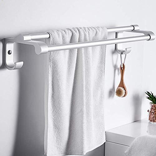 Wtbew-u Toallero para baño, toallero, toallero, toallero, toallero, multifunción, espacio de aluminio, para almacenamiento de toallas montado en la pared (barra doble) plateado 60 cm