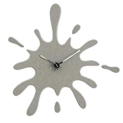 "Stephanie Imports Modern Minimalist Gray Ink Splash Silent Wall Clock (19.5"" X 18.8"")"