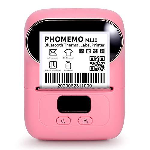 Goknu M110 Bluetooth Tragbarer Etikettendrucker Etikettiermaschine Barcodedrucker Beschriftungsgerät für Selbstklebende Etiketten Aufkleber Kompatibel für iOS and Android Smartphone Etikettiergerät