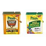 Preen 246422 Extended Control Weed Preventer - 13.75 lb. - Covers 2,245 sq. ft. & 2164126 Garden Weed Preventer + Plant Food - 16 lb. - Covers 2,560 sq. ft.