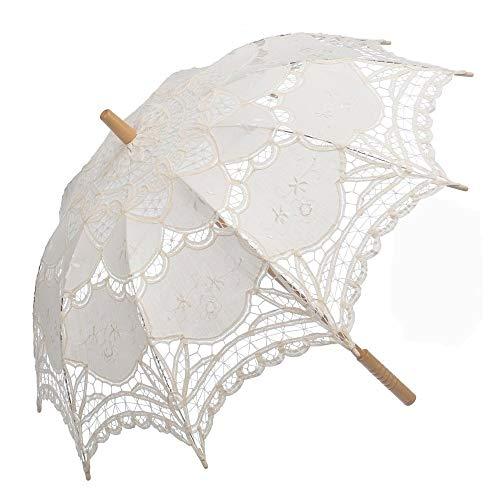 TCross Sombrilla de encaje blanco, accesorios bordados a mano y accesorios decorativos (color beige)