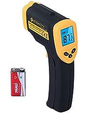 Etekcity Digitale infrarood-thermometer, infrarood-pyrometer, contactloos, temperatuurmeter, -50 tot +550 °C, LCD-verlichting, geel/zwart