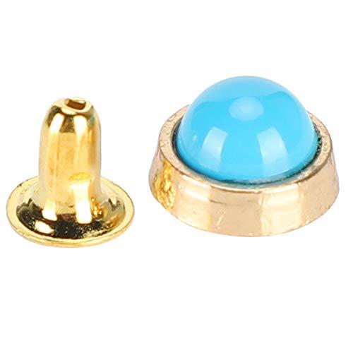 KUIDAMOS 100 Juegos de Remaches de Cristal de Color, Remache de aleación de Zinc Decorativo de 4 Colores para Productos de Cuero, Rompevientos, Chaquetas de Plumas(Azul)