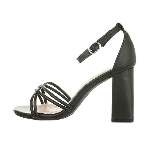 Ital Design Damenschuhe Sandalen & Sandaletten High-Heel Sandaletten, LT071-, Kunstleder, Schwarz, Gr. 36