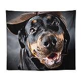 Manta Tapiz Para Colgar En Pared,Hembra de perro de raza Rottweiler con gorra, Estera Picnic Decoración Sala Estar,50x60'