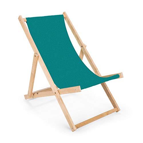 BAS 2 x 2 x Longue chaise pliante en bois Turquoise.
