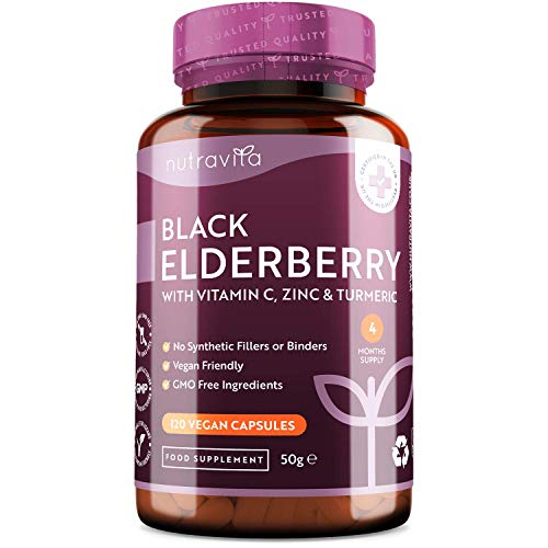 Black Elderberry Complex with Vitamin C, Zinc and Turmeric - 120 Vegan Capsules (4 Month Supply) - Immune System Support with No Synthetic Binders or Fillers - Made in The UK by Nutravita