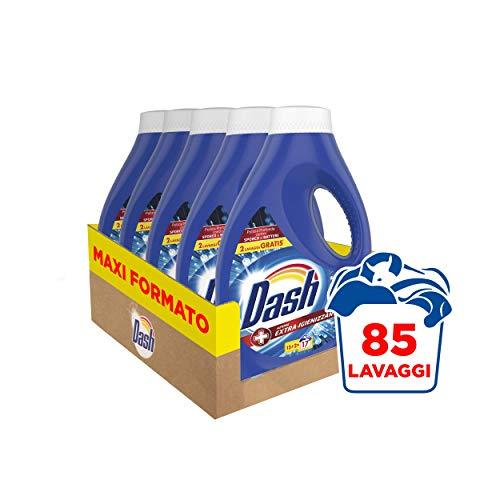 Dash Detersivo Liquido Lavatrice, 85 Lavaggi, (5 x 17), Azione Extra-Igienizzante, Maxi Formato, Rimuove le Macchie, Per tutti i Capi