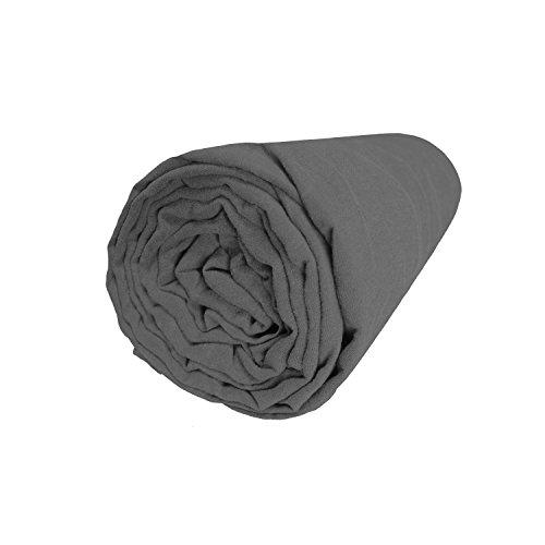 BLANC CERISE Drap Housse en Lin lavé véritable 90x200 cm - Bonnet 30cm
