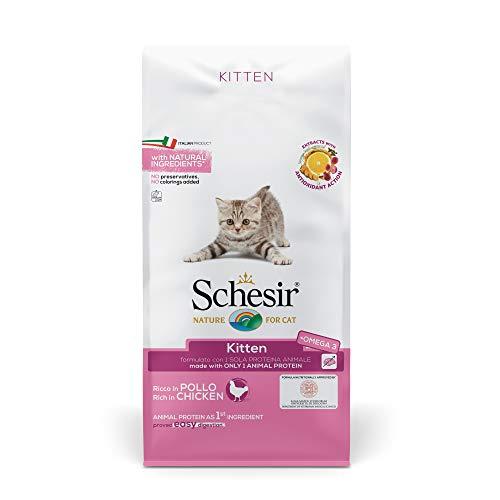 Schesir, Cibo Secco per Gatti Cuccioli Linea Ricco in Pollo, in Crocchette - Formato Sacco da 10 kg