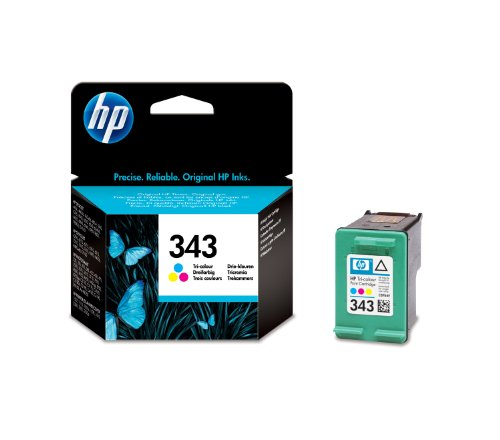 HP Cartucho de inyección de Tinta Tricolor HP 343 343 Inkjet Print Cartridges, 116 x 36 x 115 mm, 0.06 kg (0.132 Libras), 40.3 g (1.42 oz), 141 x 113 x 37 mm