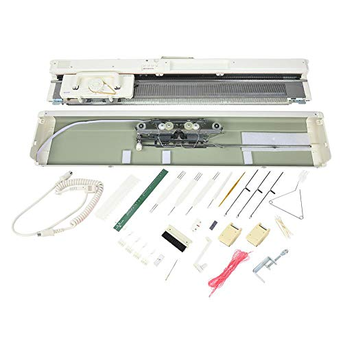 Electronic Knitting Machine, SK840 Stainless Steel 4.5 mm Standard Gauge 200 Stitches Smart Weaving Loom Set 3-Needle High Efficiency Knitting Machine Knitter Sewing Accessories for Hat Scarf Sweater